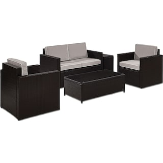 Aldo Outdoor Loveseat, 2 Chairs, Coffee Table, and End Table Set