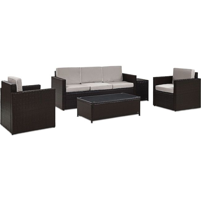 Outdoor Furniture - Aldo Outdoor Sofa, 2 Chairs, Coffee Table, and End Table Set