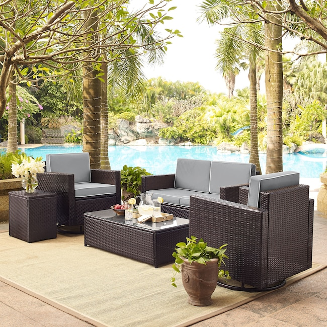 Outdoor Furniture - Aldo Outdoor Loveseat, 2 Swivel Chairs, Coffee Table, and End Table Set