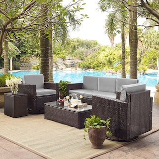 Aldo Outdoor Sofa, 2 Swivel Chairs, Coffee Table, and End Table Set - Gray