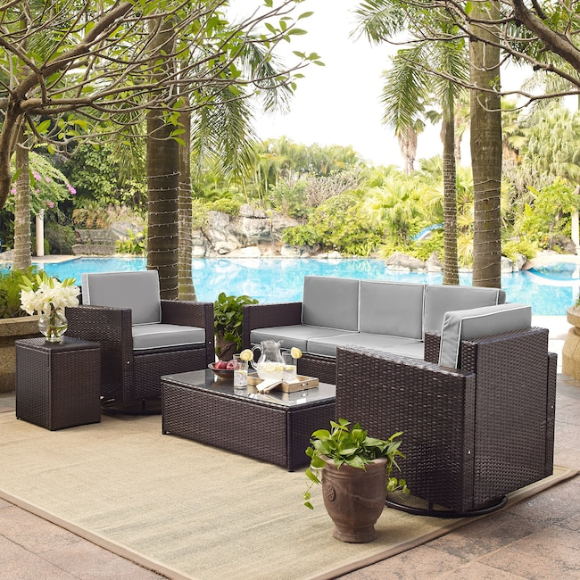 Outdoor Furniture - Aldo Outdoor Sofa, 2 Swivel Chairs, Coffee Table, and End Table Set - Gray