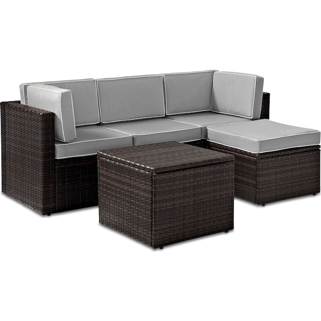 Outdoor Furniture - Aldo Oudoor Sofa, Ottoman, and Coffee Table Set