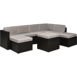 Aldo 7-Piece Outdoor Sectional and Ottoman Set - Gray