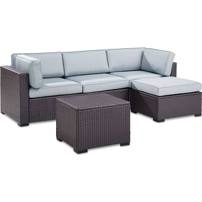 Outdoor Furniture - Isla 2-Piece Outdoor Sofa, Ottoman, and Coffee Table Set