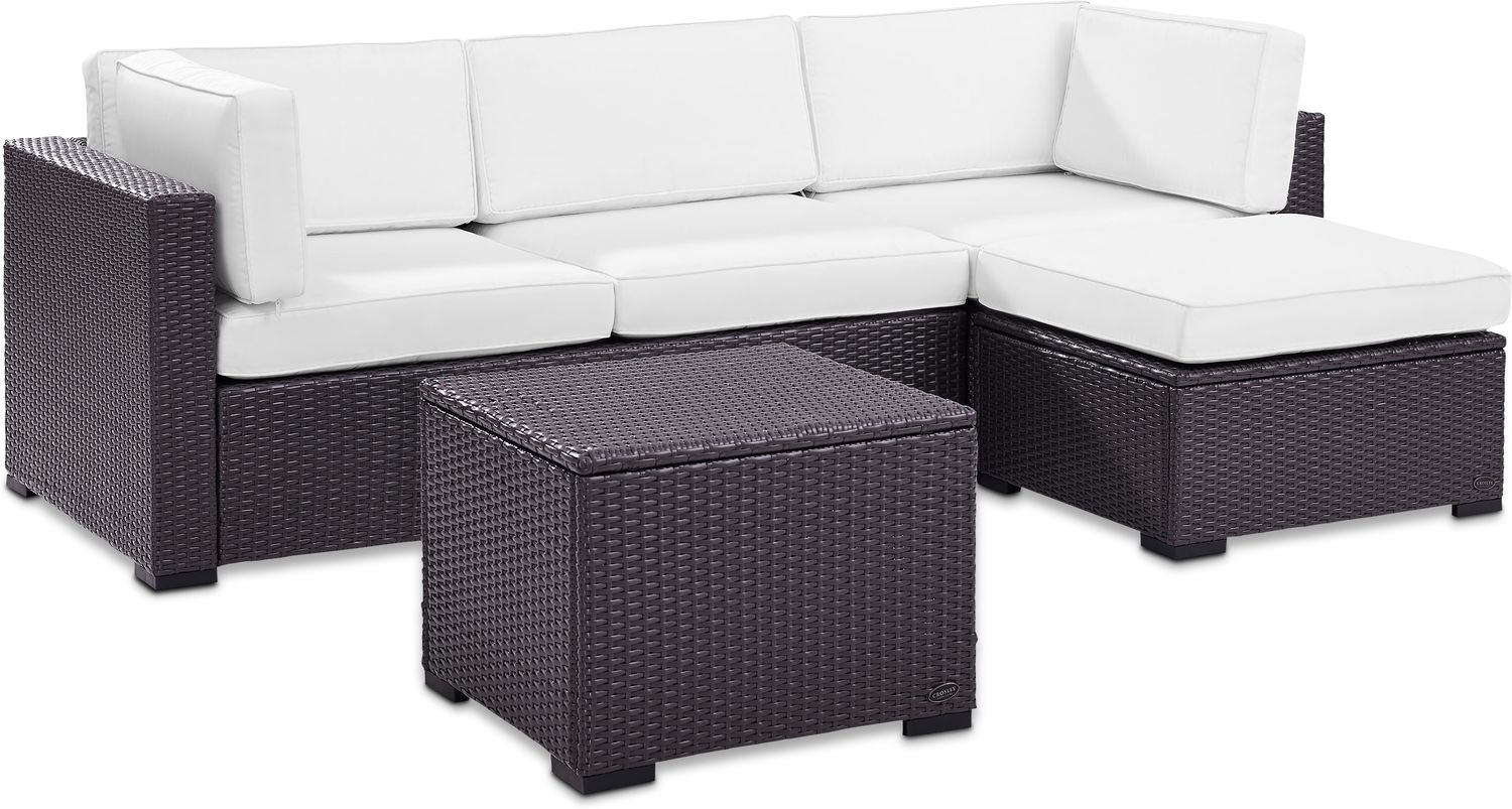 Outdoor furniture isla 2 piece outdoor sofa ottoman and coffee table set