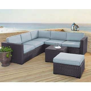 Isla 3-Piece Outdoor Sofa, Ottoman, and Coffee Table Set