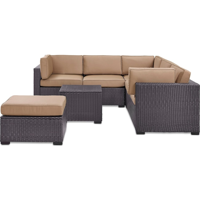 Outdoor Furniture - Isla 3-Piece Outdoor Sofa, Ottoman, and Coffee Table Set