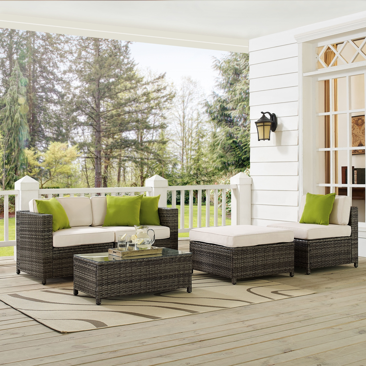 Outdoor Furniture - Jacques 2-Piece Outdoor Loveseat, Armless Chair, Ottoman, and Coffee Table Set - Gray
