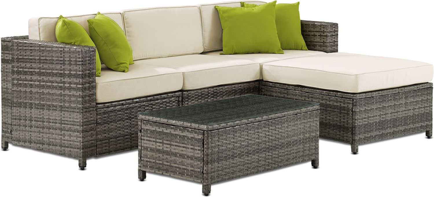 Outdoor Furniture - Lakeside 3-Piece Outdoor Sofa, Ottoman, and Coffee Table Set