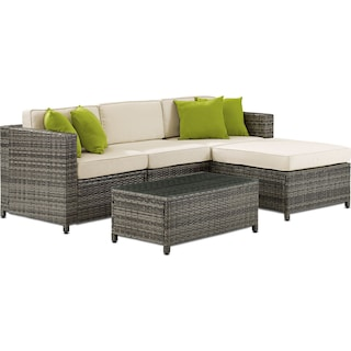 Jacques 3-Piece Outdoor Sofa, Ottoman, and Coffee Table Set - Gray