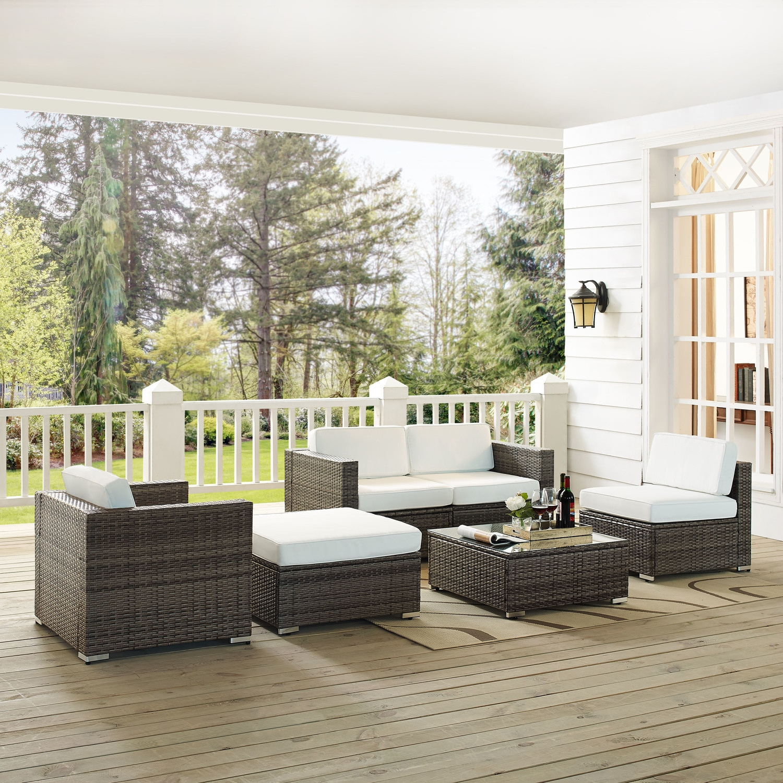 Marvelous Jacques 2 Piece Outdoor Loveseat Arm Chair Armless Chair Ottoman And Coffee Table Set Gray Creativecarmelina Interior Chair Design Creativecarmelinacom