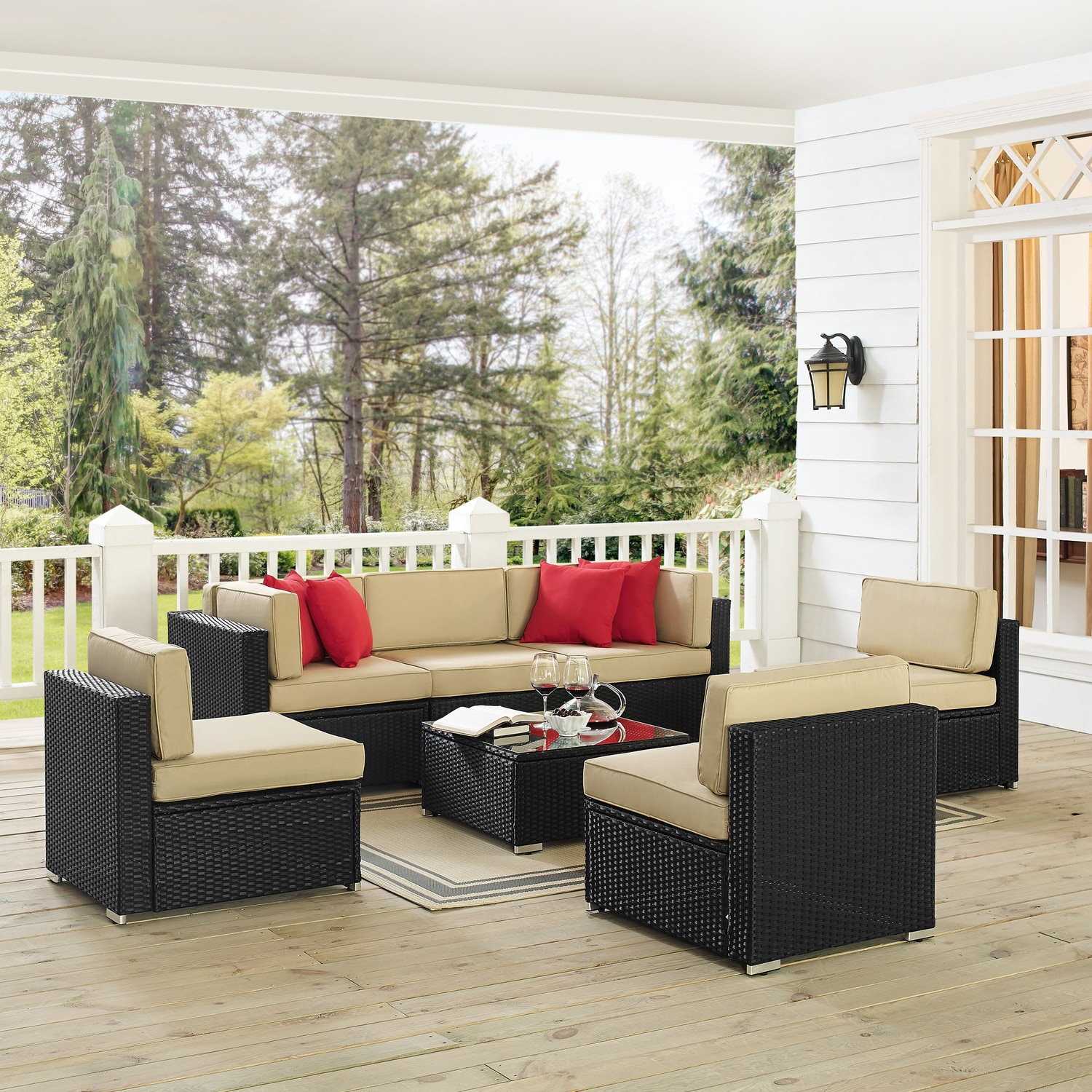Jacques 3 Piece Outdoor Sofa 3 Armless Chairs And Coffee Table Set