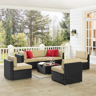 Jacques 3-Piece Outdoor Sofa, 3 Armless Chairs, and Coffee Table Set - Black