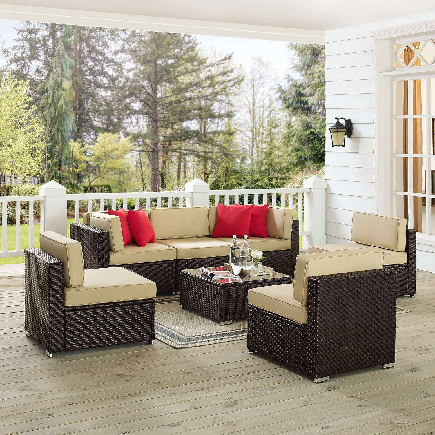 Outdoor Furniture - Jacques 3-Piece Outdoor Sofa, 3 Armless Chairs, and Coffee Table Set - Brown