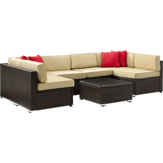 Outdoor Furniture - Lakeside 6-Piece Outdoor Sectional and Coffee Table Set
