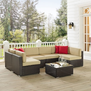Jacques 6-Piece Outdoor Sectional and Coffee Table Set - Brown