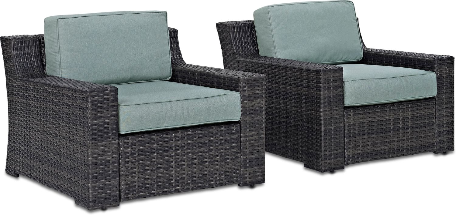 Outdoor Furniture - Tethys Set of 2 Outdoor Chairs - Mist