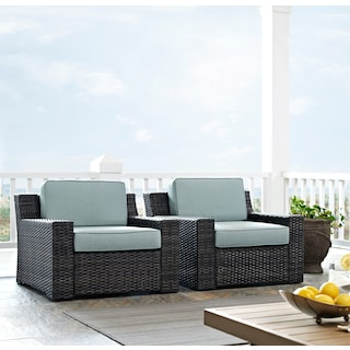 Tethys Set of 2 Outdoor Chairs - Mist