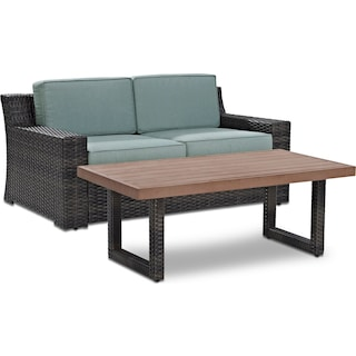 Tethys Outdoor Loveseat and Coffee Table Set