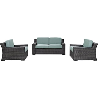 Tethys Outdoor Loveseat and 2 Chairs Set - Mist