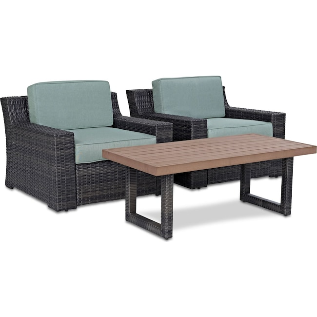 Outdoor Furniture - Tethys Set of 2 Outdoor Chairs and Coffee Table Set - Mist
