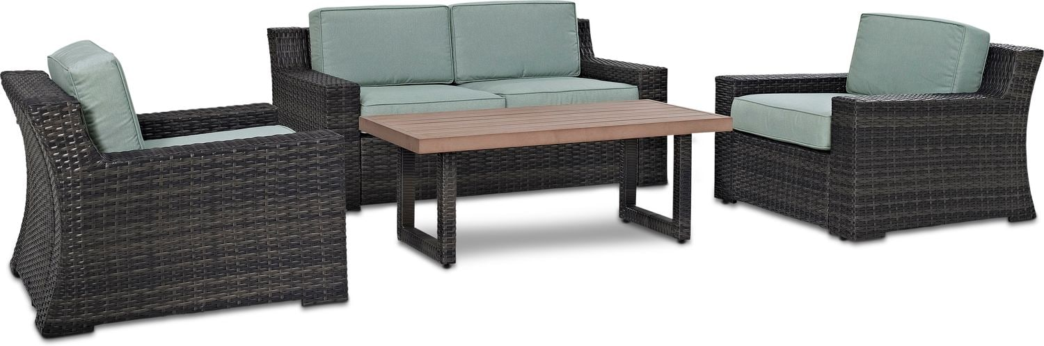 Outdoor Furniture - Tethys Outdoor Loveseat, 2 Chairs, and Coffee Table Set - Mist