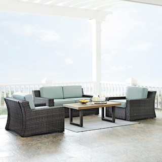 Tethys Outdoor Loveseat, 2 Chairs, and Coffee Table Set
