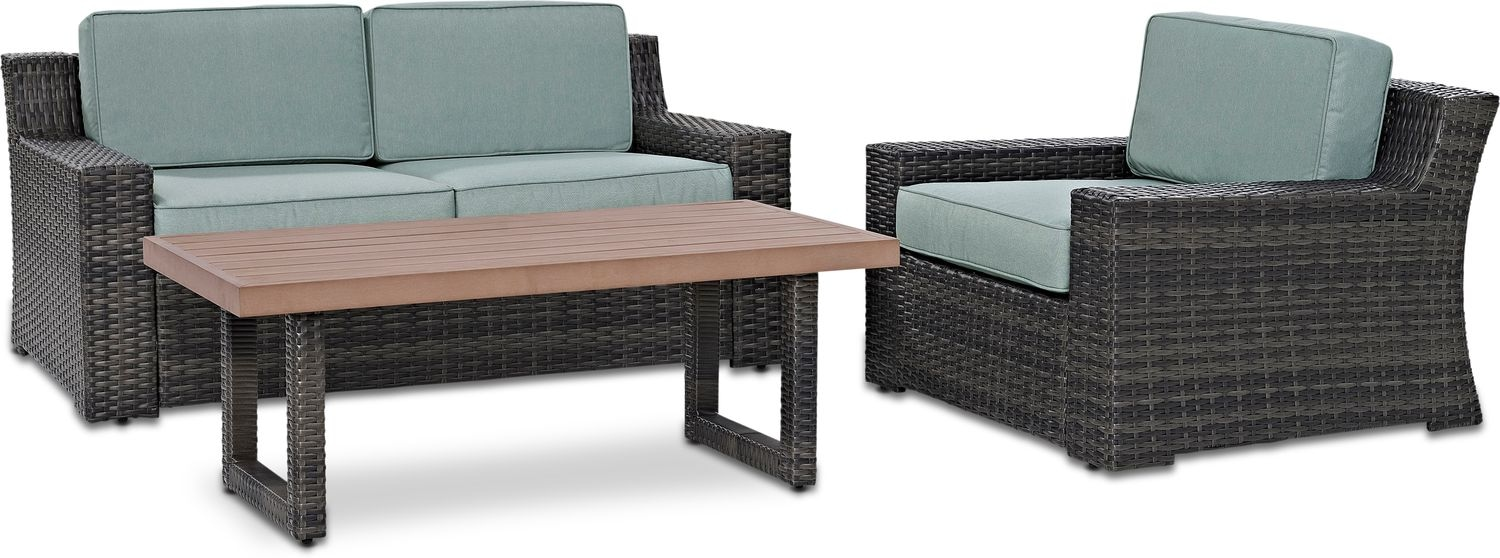 Outdoor Furniture - Tethys Outdoor Loveseat, Chair, and Coffee Table Set - Mist