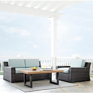 Tethys Outdoor Loveseat, Chair, and Coffee Table Set