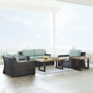 Tethys Outdoor Loveseat, 2 Chairs, Coffee Table, and End Table Set - Mist