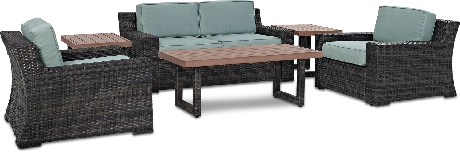 Outdoor Furniture - Tethys Outdoor Loveseat, 2 Chairs, Coffee Table, and 2 End Tables Set - Mist