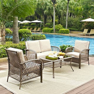 Zuma Outdoor Loveseat, 2 Chairs, and Coffee Table Set - Gray