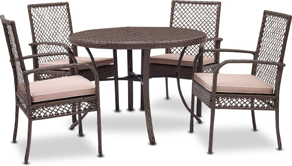 Outdoor Furniture - Zuma Outdoor Dining Table and 4 Chairs - Gray