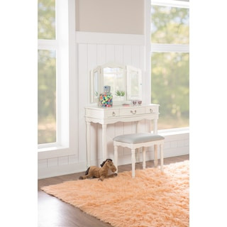 Kendall Youth Vanity, Mirror, and Stool Set