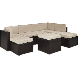 Aldo 7-Piece Outdoor Sectional and Ottoman Set - Sand