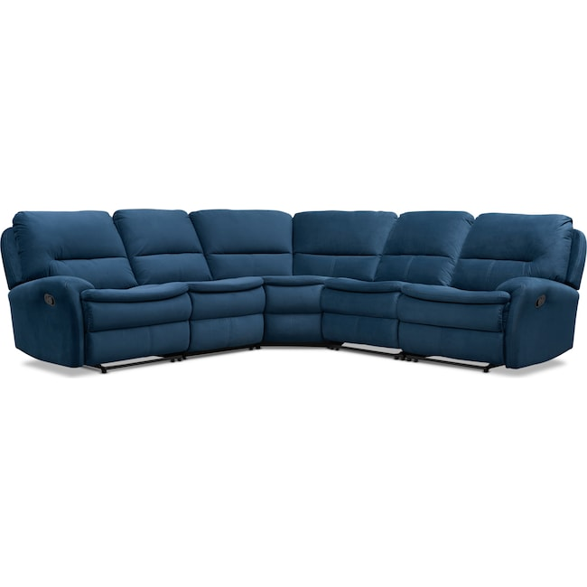 Living Room Furniture - Cruiser 5-Piece Manual Reclining Sectional with 3 Reclining Seats - Ink