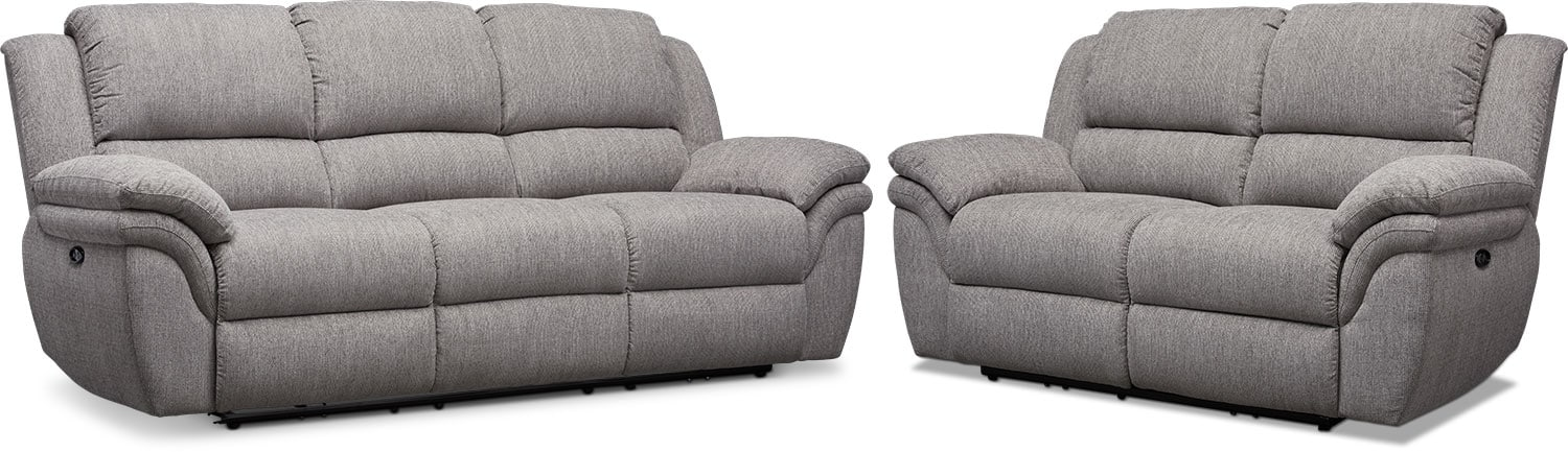 Living Room Furniture - Aldo Power Reclining Sofa and Loveseat Set