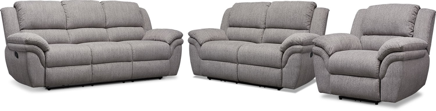 Living Room Furniture - Aldo Manual Reclining Sofa, Loveseat + FREE RECLINER
