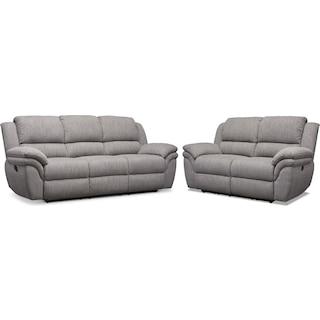 Aldo Manual Reclining Sofa and Loveseat Set
