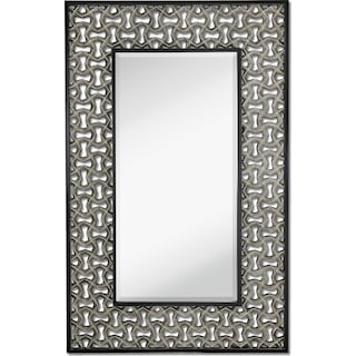 Silver Leaf Wall Mirror - Black