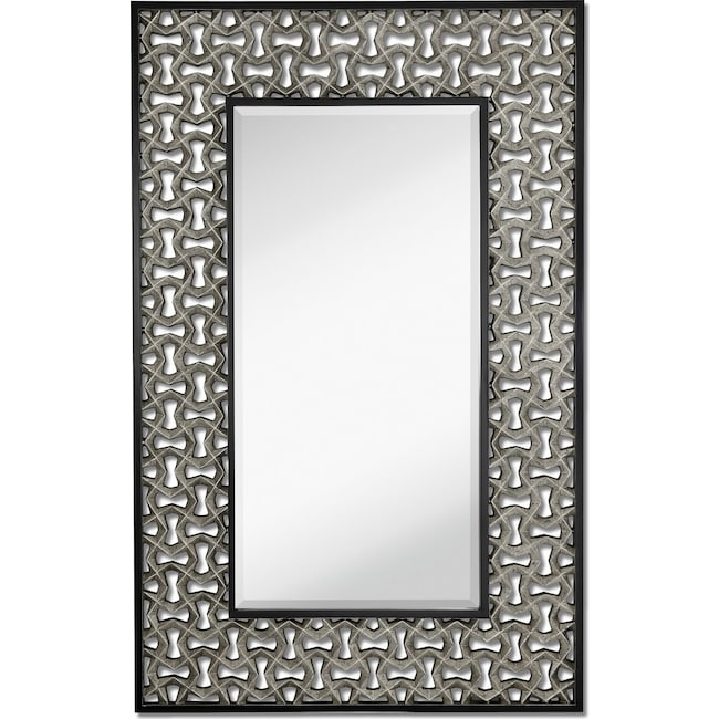 Home Accessories - Silver Leaf Wall Mirror - Black