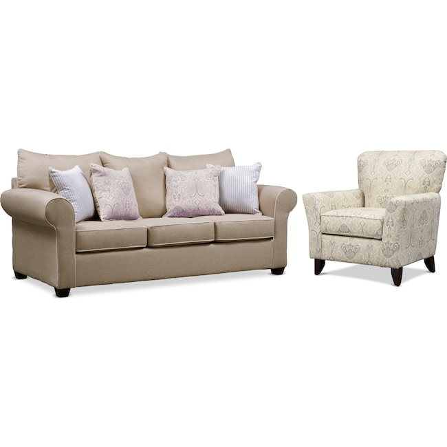 Living Room Furniture - Carla Sofa and Accent Chair Set