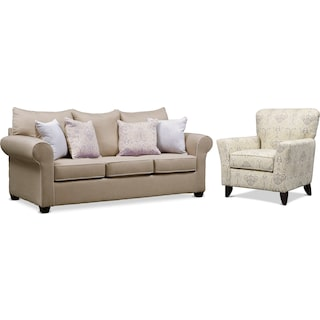 Carla Queen Sleeper Sofa and Accent Chair Set