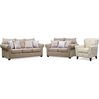 Carla Queen Sleeper Sofa, Loveseat, and Accent Chair Set
