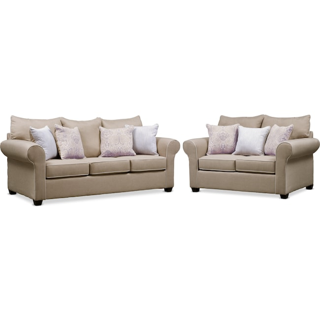 Living Room Furniture - Carla Queen Sleeper Sofa and Loveseat Set