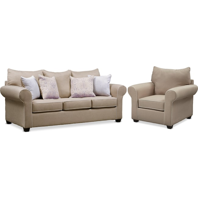 Living Room Furniture - Carla Queen Memory Foam Sleeper Sofa and Chair Set - Beige