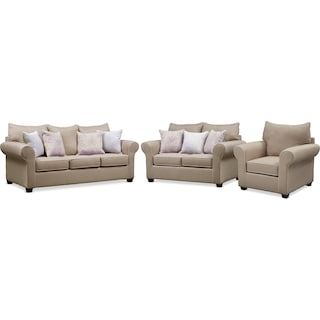 Carla Queen Innerspring Sleeper Sofa, Loveseat, and Chair Set - Beige