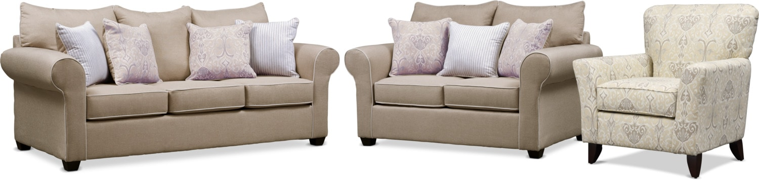 Living Room Furniture - Carla Queen Memory Foam Sleeper Sofa, Loveseat, and Accent Chair Set - Beige