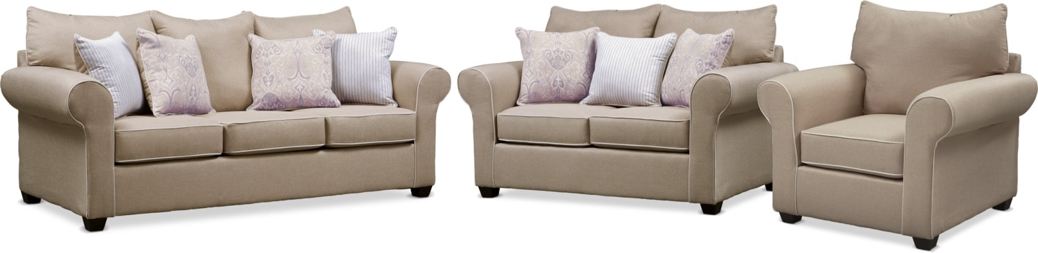 Living Room Furniture - Carla Queen Memory Foam Sleeper Sofa, Loveseat, and Chair Set - Beige