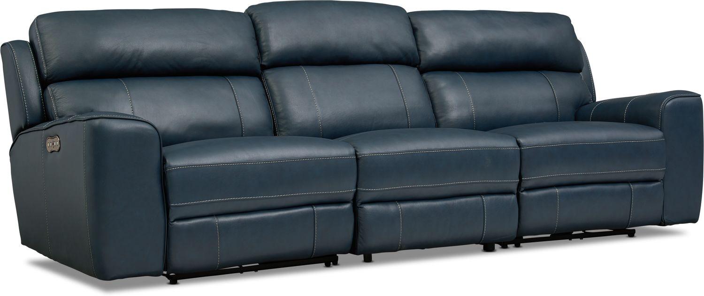 Living Room Furniture - Newport 3-Piece Dual-Power Reclining Sofa